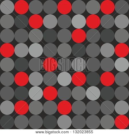 Tile vector pattern with big red, grey and black polka dots on grey background