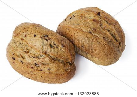 Two oatmeal buns on a white background