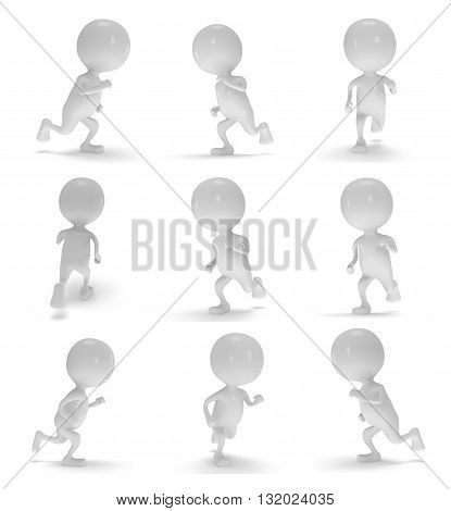 Man running set with different views. Fast delivery concept. Runner collection isolated on white. 3d render.
