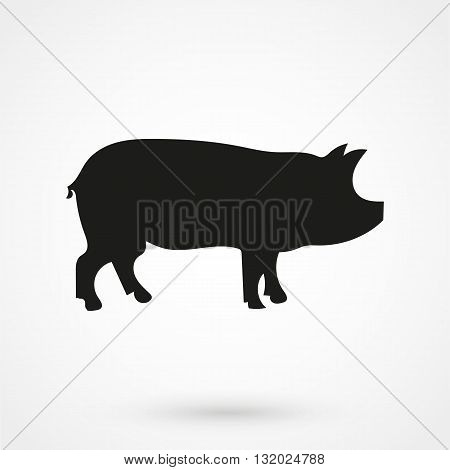 Pig Icon Vector Black On White Background In Simple Style