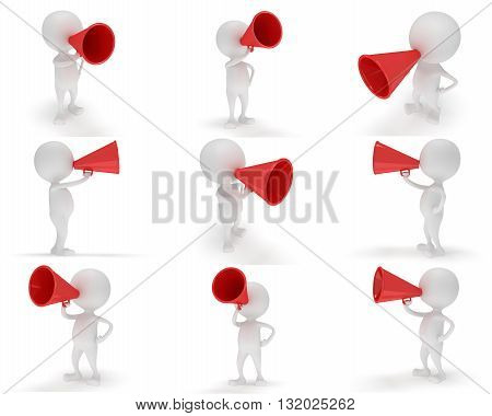 3d white people with a megaphon. Man with red loudspeaker. 3d render isolated on white background