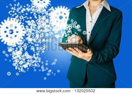 business strategy concept. business woman hand draws gear to success concept