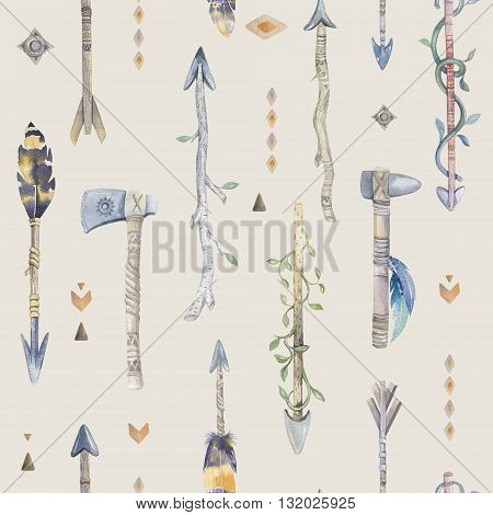 Watercolor boho seamless pattern with arrows.  Decoration native tribal print with feathers. aztec tomahawk ethnic design. watercolour art wallpaper. Isolated on white