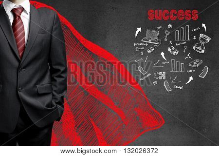 businessman in a red raincoat and drawing success concept on wall