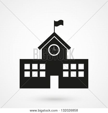 School Building Icon Black On White Background