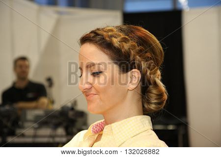 BELGRADE SERBIA-APRIL 27:Model poses with new hairdress at 27th international fair and congress of cosmetics The touch of Paris April 272016 in Belgrade Serbia