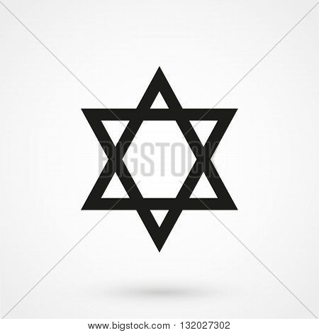 Star Of David Icon Vector Black On White Background
