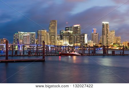 MIAMI, FLORIDA, USA - May 01, 2016: Skyline from Miami as seen from Watson Island