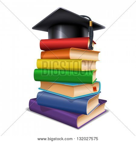 Black graduation cap on stack of books. Isolated on white background. Graduation concept. Back to school concept. Vector illustration.