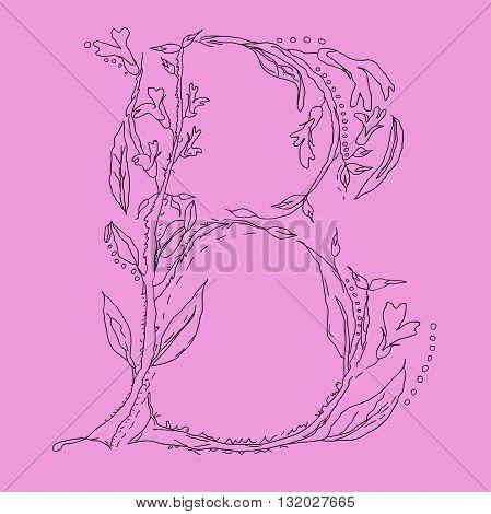 Herbarium font, type. Floral vector letters. Letter B. Flower alphabet.