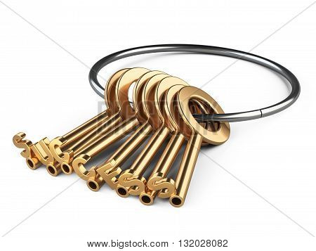 Golden keys to success on a rin. Conceptual 3d image isolated on a white background.