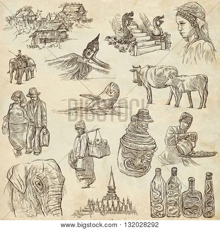 Travel LAOS - Pictures of Life. Collection of an hand drawn illustrations - Lao People's Democratic Republic. Pack of full sized hand drawn illustrations set of freehand sketches. Drawing on paper.