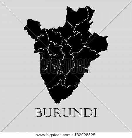 Black Burundi map on light grey background. Black Burundi map - vector illustration.