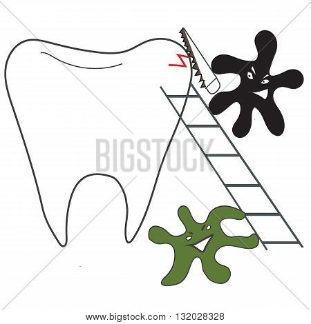 tooth and micro-organisms of dental caries with a saw