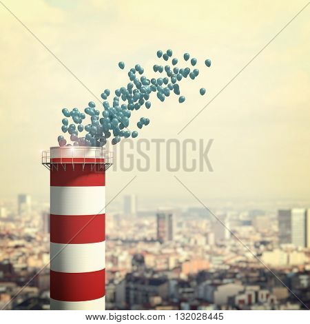 chimney and 3d balloon with urban background