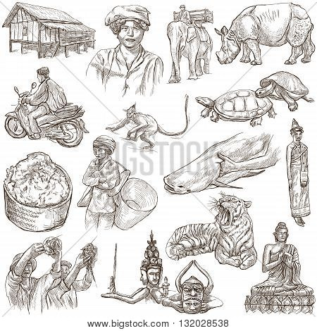 Travel series LAOS - Pictures of Life. Collection of an hand drawn illustrations - Lao People's Democratic Republic. Pack of full sized hand drawn illustrations set of freehand sketches. Drawing on white.