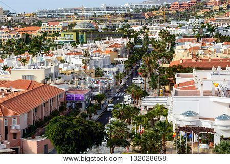 COSTA ADEJE, TENERIFE, SPAIN - DECEMBER 4, 2015: Aerial view on architecture of Costa Adeje town on Tenerife island, Spain