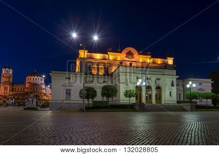 National Assembly and Alexander Nevsky Cathedral in city of Sofia, Bulgaria