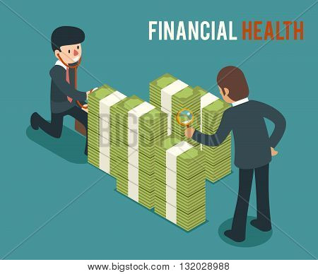 Money health isometric 3d vector illustration. Bank money health, cash money health, saving and checking money health finance money health