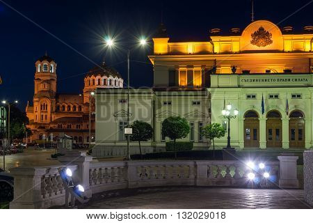 Amazing Night photo of National Assembly and Alexander Nevsky Cathedral in city of Sofia, Bulgaria