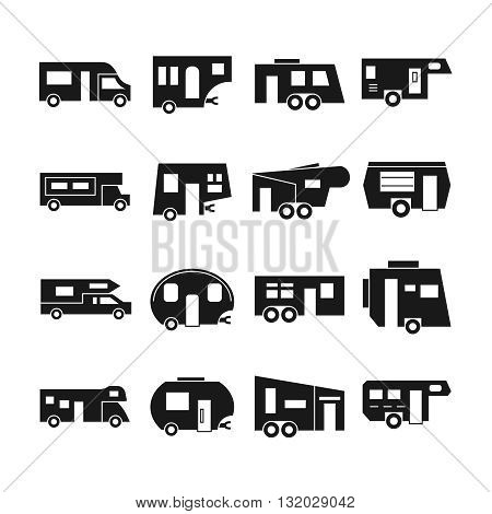 RV cars, campers vector icons. Rv camper car, van rv car vehicle, travel rv car home, transportation trailer illustration