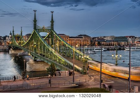 The Liberty Bridge across the Danube River in Budapest