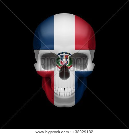 Human skull with flag of Dominican Republic. Threat to national security war or dying out