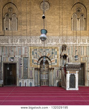 Cairo Egypt - January 23 2016: Interior of Sultan Hasan Mosque Cairo Egypt