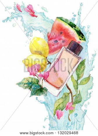 Perfume bottle watercolor illustration, aroma illustrated. Water splash with lemonbranch, watermelon and cyclamen flowers