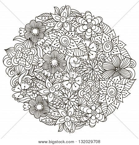 Circle shape pattern with cute flowers for coloring book. Vector illustration