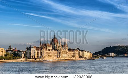 The Hungarian Parliament on the Danube River in Budapest