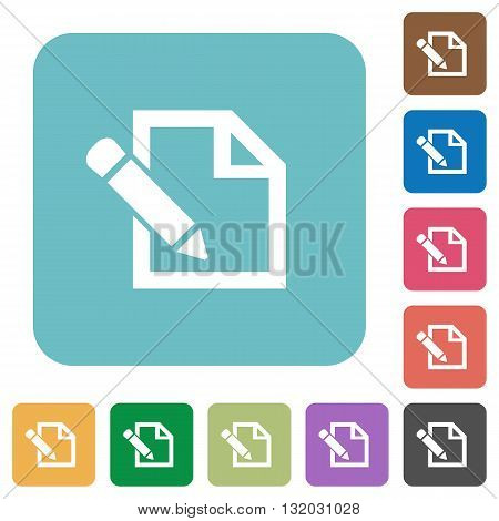 Flat edit icons on rounded square color backgrounds.