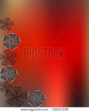 Red blurred background with black and white flowers. Vector illustration