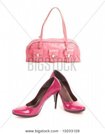 Kit of two items, sexy shoes with high heel and elegant pink leather handbag