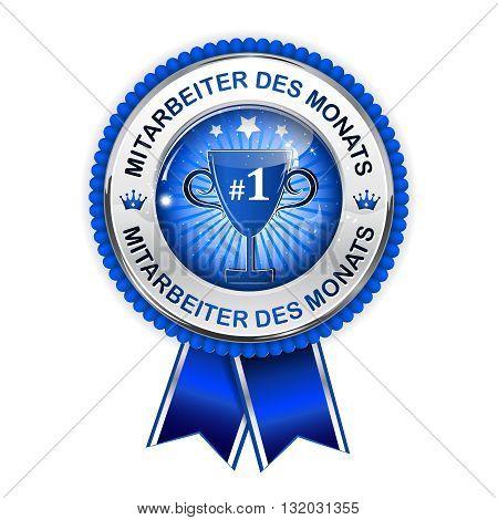 Employee of the month in German language (Mitarbeiter des Monats) - elegant golden blue award ribbon