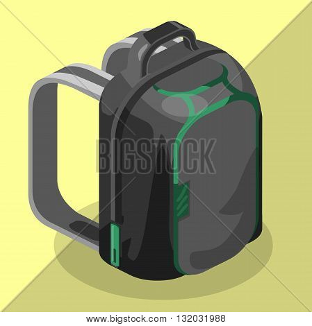 Schoolbag flat isometric. Knapsack vector icon.Rucksack vector. Colorful backpack isometric.