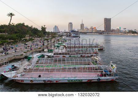 Cairo Egypt - May 26 2016: Party boats docked on the Nile river on the island of Zamalek in central Cairo.