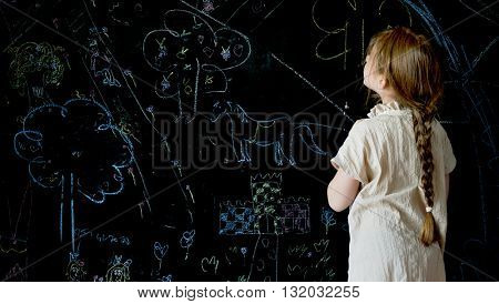 Girl Drawing Creative Ideas Imagination Concept