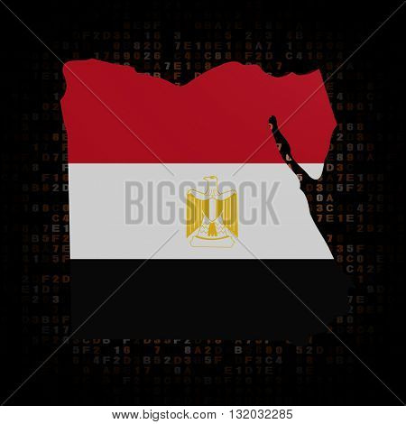 Egypt map flag on hex code 3d illustration