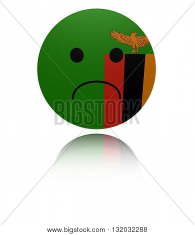 Zambia sad icon with reflection 3d illustration