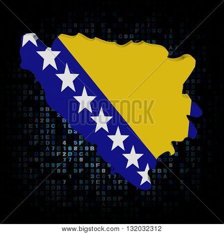 Bosnia map flag on hex code 3d illustration