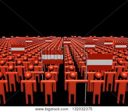 Crowd of abstract people with many Austrian flags 3d illustration