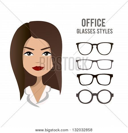 Office glasses styles vector template with an office woman character design. Beautiful girl wearing official clothes and hair style, a model for trying on glasses