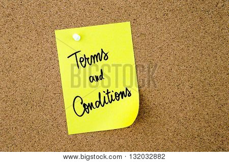 Terms And Conditions Written On Yellow Paper Note