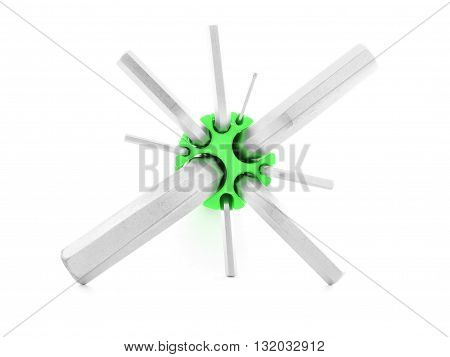 Hexagonal key, metal tool for repair, isolated, on white background