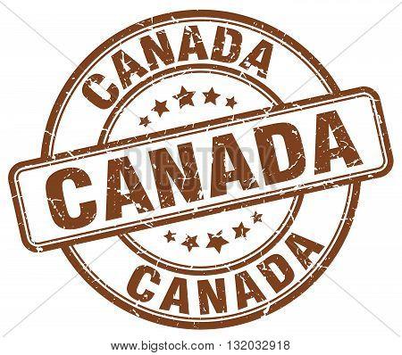 Canada brown grunge round vintage rubber stamp.Canada stamp.Canada round stamp.Canada grunge stamp.Canada.Canada vintage stamp.