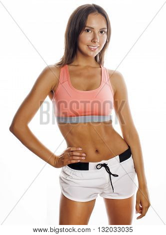 young pretty woman in sports wear isolated on white smiling close up tann, lifestyle people concept
