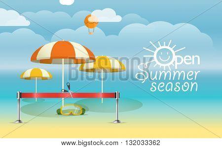 Summer seaside vacation illustration. Vacation design template. Open summer season concept