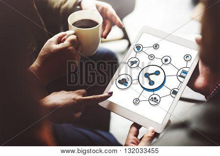 Technology Digital Share Media Link Concept