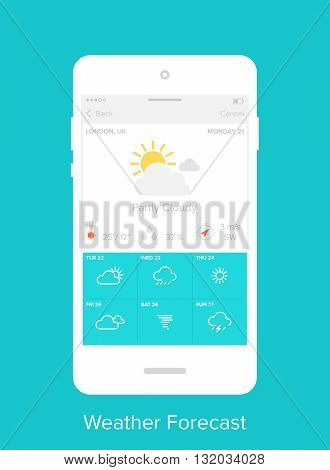 Abstract vector illustration of flat weather forecast mobile UI